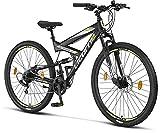 Licorne Bike Bicicleta de montaña Strong 2D, para niños, niñas, mujeres y hombres, freno de disco delantero y trasero, 21 velocidades, suspensión completa, negro/lima, 29 pulgadas, negro, lima
