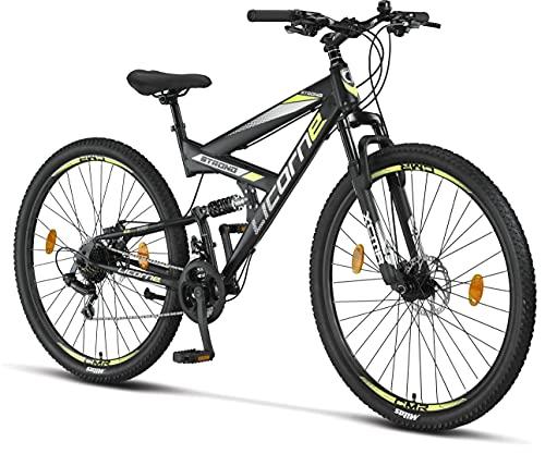 Licorne Bike Strong 2D Premium Mountain Bike Bicicletta per ragazzi, ragazze, donne e uomini – Freno a disco anteriore e posteriore – 21 marce – Sospensione completa (nero/lime, 29.00)