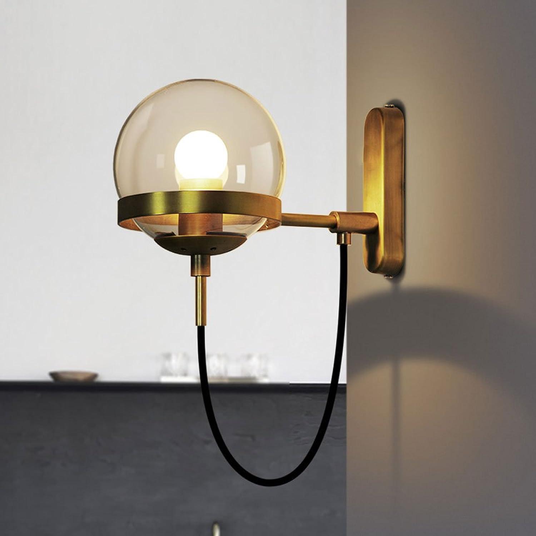 Postmodern Nordic Einfache Transparentes Glas Sphrische Lampe Retro American Bronze Ring Wandleuchte Wohnzimmer Wandleuchte Hotel Lobby Dekoration Wandleuchte Restaurant Licht (Farbe   Gold)