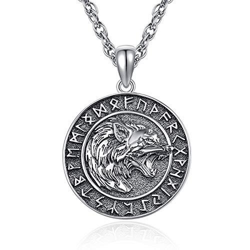 KINGWHYTE Wikinger-Halskette, 925er-Sterlingsilber, Wolfskopf-Amulett, Ornamente, Vegvisir-Anhänger, Halskette, Anhänger, Schmuck für Männer und Frauen, mit Edelstahl-Kette, 55cm