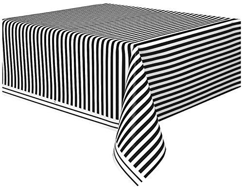 Unique Party - Mantel de Plástico - 2,74 m x 1,37 m - Diseño de Rayas Negras (50305)