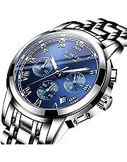 腕時計メンズ時計ブルーステンレススチール防水アナログクォーツウォッチ日付表示ラグジュアリーおしゃれ ビジネス男性腕時計クラシックウォッチ