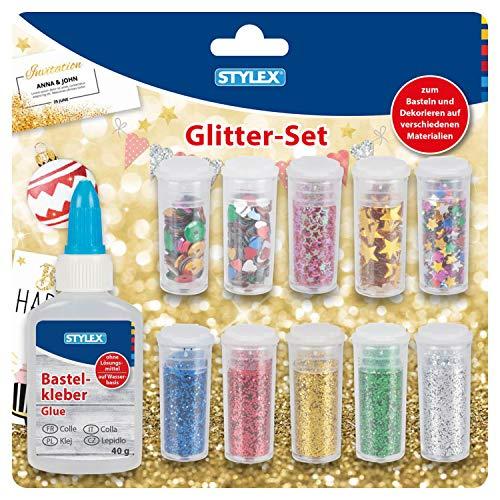 Stylex 23386 Glitter-Set, 11 teilig, Glitterpulver, 5 Döschen Streudeko und 1 Flasche Bastelkleber, zum Basteln und Dekorieren, mehrfarbig, one size