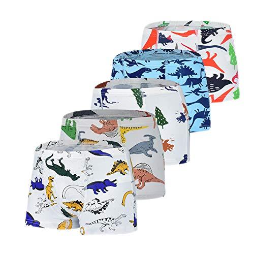 Secdtie 100% Cotton Little Boys Briefs Soft Dinosaur Truck Toddler Underwear 5 Pack 6-7 Years