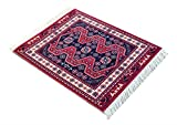 Oriental Woven Rug Mouse Pad - Turkish Style Carpet Mousemat - Great Gift (Red-Black)