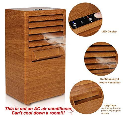 LOISK Tragbare Klimaanlage, Luftbefeuchter/Luftkühler/Persönlicher Mini Tischventilator 3 in 1, Aircooler Klimagerät mit 3 Geschwindigkeitsstufen für Büro Zuhause