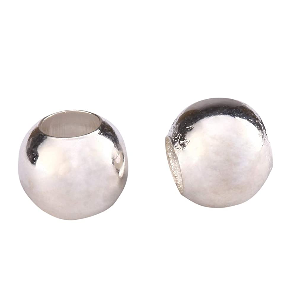 50pcs Sterling Silver 4mm Small Seamless Smooth Spacer Beads (Hole ~1.5mm) for Jewelry Craft Making Findings SS199