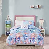 Mi Zone Kids Playful Purrmaids Reversible Comforter, Novel Animal Print, Cat Mermaids in The Ocean All Season Down Alternative Bed Set for Kids, Decorative Pillows, Twin(66'x86'), Aqua/Pink 3 Piece