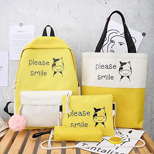4pcs Set di borse da scuola Zaino da donna di moda Zaino di tela Nuovo sacchetto di scuola per borsa a tracolla antifurto per donne adolescenti