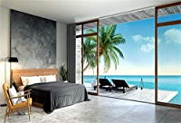 APANシービューフロアドロップ写真の背景ホリデービーチの寝室とヤシの木10x7ftビニール自然の風光明媚な写真の背景赤ちゃんの女の子男の子大人の肖像画の壁紙の装飾スタジオの支柱