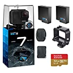 Gopro hero 7 (black) action camera w/dual battery charger and extra battery bundle 16 this k&m bundle includes all standard gopro accessories + limited 1-year warranty gopro hero 7 (black) action camera box includes: gopro hero7 black, rechargeable battery, the frame for hero7 black, curved adhesive mount, flat adhesive mount, mounting buckle, usb-c cable, limited 1-year warranty. Gopro hero 7 (black) action camera highlights: 4k60/50, 2. 7k120/100 & 1080p240/200, 12mp still photos with selectable hdr, hypersmooth video stabilization, direct live streaming to facebook live