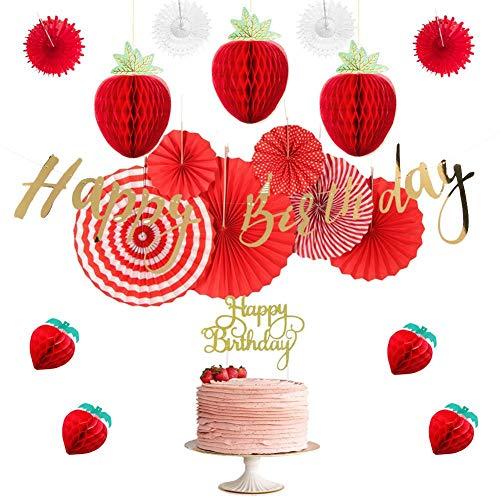 WHRP-decoration Girlande Deko Erdbeer Thema Geburtstag Party Dekoration Set Waben Erdbeeren Alles Gute Zum Geburtstag Banner Cake Topper Papier Fans Mädchen Nach Hause