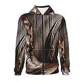Western-Cowboys-Laterne auf Bench Vintage Unisex Pullover Teen 3D Casual Pullover Hoodie Sweatshirts Jungen Mädchen mit Tasche Gr. S, Schwarz