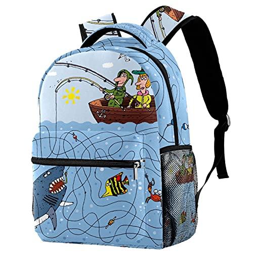 Mochilas de viaje de campus, bolsas de pesca dibujadas a mano con soporte para botellas para niñas y niños