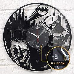 Batman Clock - Batman Joker Clock - Batman Vinyl Clock - Batman Joker Gifts - Black DC Comics Marvel Super Hero Batman Vinyl Record Wall Clock Decor Art Novelty Gifts Set for Adults Men Women Kids