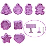 8 Packs Cute Christmas Gingerbread Men Plastic Cookie Cutter Embossing Mold Set, Winter Thanksgiving Best Wish Cookies Stamps Cake Sugar Craft Chocolate Decor Cutter Mold