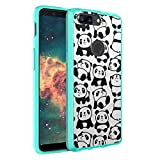 OnePlus 5T Case, Capsule-Case Hybrid Slim Hard Back Shield Case with Fused TPU Edge Bumper (Teal Mint Green) for OnePlus 5T - (White Panda)