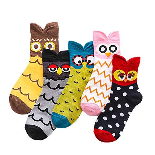 MEOKEY Calcetines de Algodón con Animales Lindos para Mujeres y Niñas, 5 pares