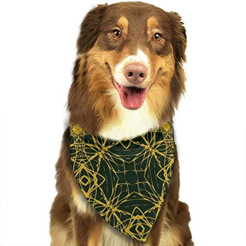 Huyotop Halstuch für Haustiere, einfaches und Elegantes Muster mit dünnen goldfarbenen Linien, für Hunde und Katzen, dreieckiges Kopftuch