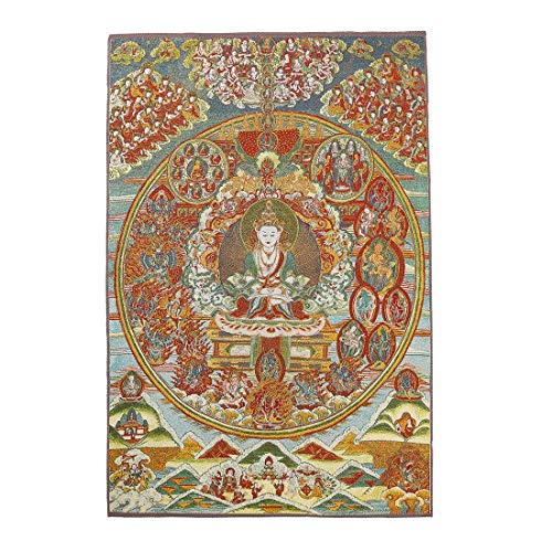 ZenBless Silk Embroidery Tibetan Thangka with Kashgari Buddha Wall Hanging for Home Décor Tapestry Meditation