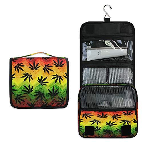 RXYY Bolsa de aseo con diseño geométrico de hojas de marihuana coloridas para colgar en el baño, gimnasio, bolsa de lavado portátil para mujeres y niñas