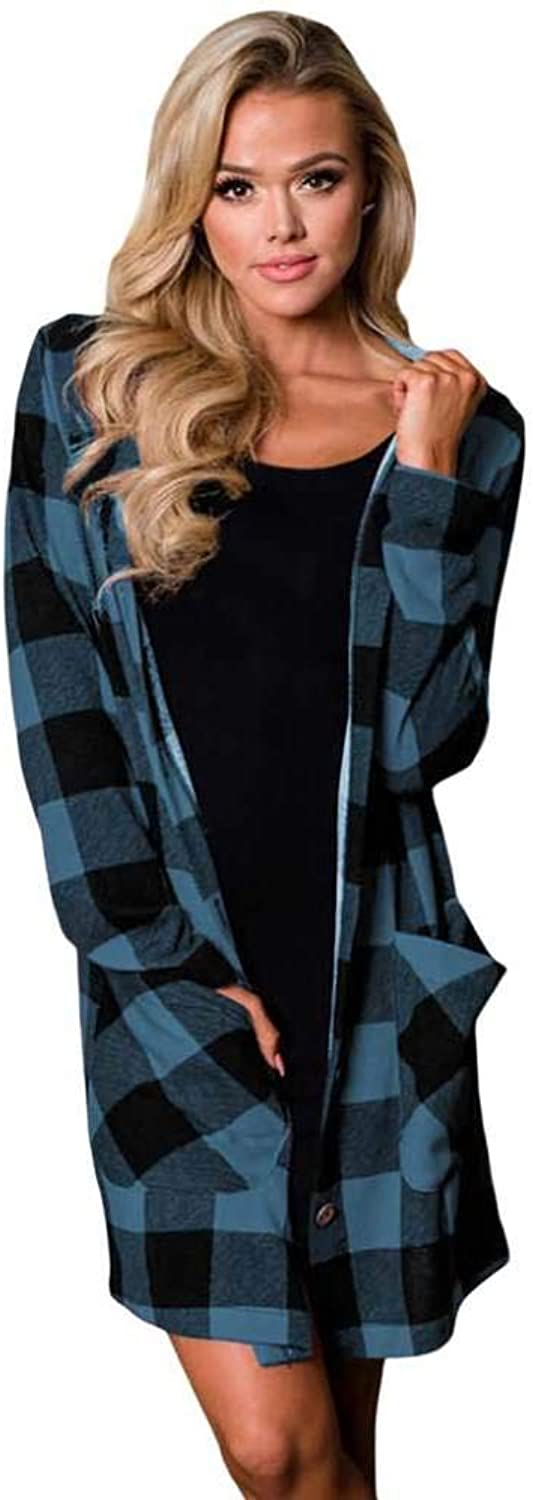 OFZYG blueee Black Checkered Button Up Hooded Cardigan Autumn and Winter New Plaid Cardigan SingleBreasted Long Sleeve TwoPack Insulated Hooded Jacket