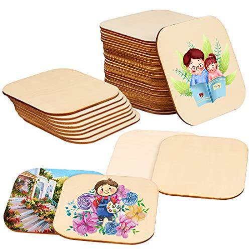 Wishstar Dischi di legno per bricolage, 30 dischi quadrati in legno, piccoli pannelli di legno per bricolage, decorazione/coperchi di birra/pirografi/sottobicchieri/piastre in legno