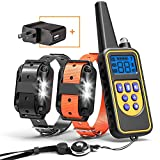 Cambond Dog Shock Collar for 2 Dogs, 2600ft Range Waterproof Dog Training Collar with Remote Electronic Dog Collar for Medium and Large Dog with 4 Training Modes Light Static Shock Vibration Beep
