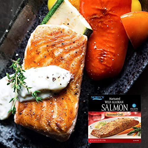 Morey's Marinated Wild Alaskan Frozen Salmon, 2 Boxes of 6 Fillets (12 total) | Gluten Free and Premium Quality | Net WT – 72 OZ | By Gourmet Kitchn