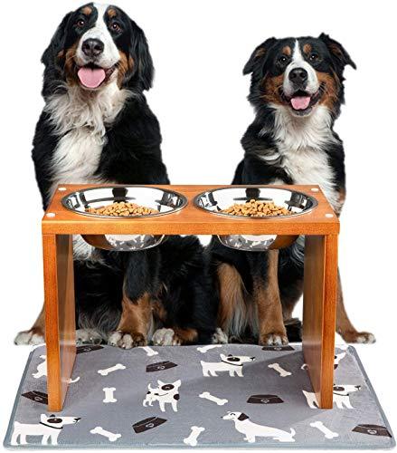 Yangbaga Comedero para Perros Grande Doble para Perros Gatos,Cuenco Elevado para Mascotas de Acero Inoxidable- con Soporte de Bambú y empadoresAntideslizante1300ml