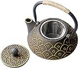 Sharemee Gusseiserne Teekanne mit Edelstahlfilter-Teeblättern, japanischer gesunder Wasserkocher, 800 ml, golden