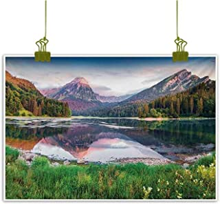 Mannwarehouse Landscape Light Luxury American Oil Painting Swiss Lake Obersee Near Nafels Village Switzerland Europe Scenic Summer Sunrise Home and Everything 35