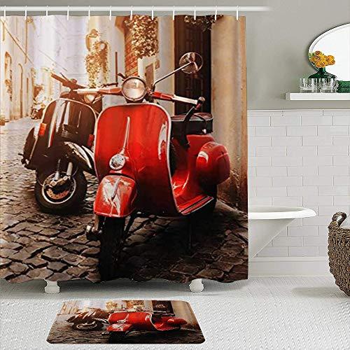 ZELXXXDA Juegos de Cortinas de Ducha con alfombras Antideslizantes,Motocicletas en Las Calles de Piedra del Camp, Alfombra de baño + Cortina de Ducha con 12 Ganchos