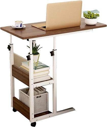 YFUIOVX Carré Chevet Ordinateur Table d'ordinateur Portable (Hauteur réglable), Bureau Mobile Table Basse Table à Manger Apprendre Bureau,marron,80  40  84cm