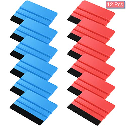 Blulu Felt Edge Squeegee Car Wrapping Tool Kits, 4 Inch Felt Squeegee Applicator Tool for Car Vinyl Wrap, Window Tint, Wallpaper, Decal Sticker Installation (12)