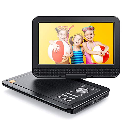 APEMAN Tragbarer DVD Player für Auto und Kinder, 10.5\'\'mit Drehbarer Display Portable CD Player, 5 Stunden Akku unterstützt SD/USB/AV Out/IN, Spiele Joystick (schwarz)