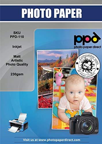 PPD Inkjet - A4 x 50 Hojas de Papel Artístico de Calidad Fotográfica Profesional Mate 230 g/m² - Secado Instantáneo - Para Todas Impresoras de Inyección de Tinta - PPD-110-50