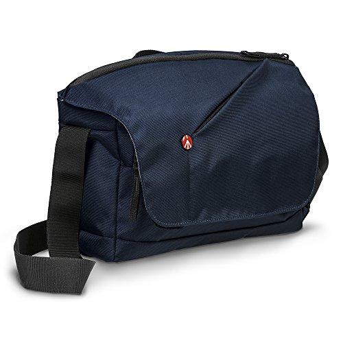 Manfrotto NX - Bolsa Messenger para cámara CSC con 2 Objetivos (Inserto extraíble, Acceso Superior Grande, Tela Externa Repelente al Agua) Color Azul