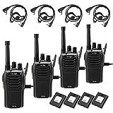 Caroger Recargable Walkie Talkie Business Dos VíAs de Radio PMR 446 MHz 16 Canales De Largo Alcance Negro (4 Paquetes)
