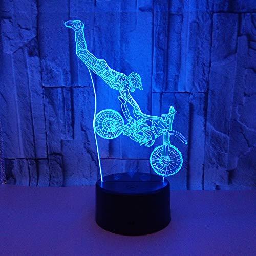 Hancoc Stunt Motocicleta LED Colorido Gradiente 3D Estéreo Lámpara de Mesa Táctil Control Remoto USB Luz Noche Escritorio Mesita de Noche Decoración Creativa Regalos Adornos