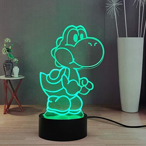 Mario Super Yoshi Nachtlicht 3D, Isle of Yoshi 16 Farben, Tischlampe, Fernbedienung, Smart Touch Schlafzimmer, für Kinder, Jugendliche, Geburtstag, Weihnachten