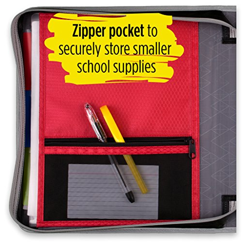 Five Star 2 Inch Zipper Binder, 3 Ring Binder, Removable File Folders, Durable, Red (73283) Photo #3