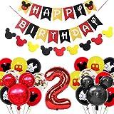 Amycute Decoración de Fiesta Mickey Mouse Cumpleaños, Banner de Happy Birthday Globos de Latex Negro Rojo, Globo de Papel de Aluminio de Número 2 para Fiesta Temática de Mickey Cumpleaños