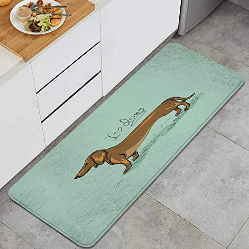 VAMIX Tappeto da Cucina,Stampa dettagliata del disegno del cucciolo del bassotto,antiscivolo passatoia da cucina antiscivolo zerbino tappetino per il bagno