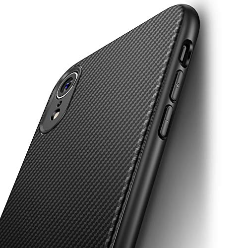 J Jecent Funda iPhone XR [Textura Fibra de Carbono] Carcasa Ligera Silicona Suave TPU Gel Bumper Case Cover de Protección Antideslizante [Anti-Rasguño] [Anti-Golpes] Caso para iPhone XR - Negro