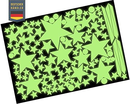 Leuchtaufkleber 100 Stück Bonus Sternschnuppe - Selbstklebende Leuchtsterne - im Dunkeln leuchtend - mit starker Leuchtkraft - Stark Fluoreszierend Nachtleuchtend - Leuchtsterne - Glow in the Dark
