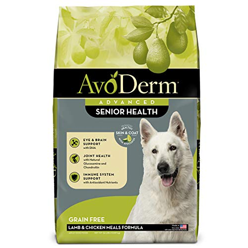 AvoDerm Natural Advanced Senior Health Dry Dog Food, Grain Free, Lamb Recipe, Grain Free Senior, 24 lb