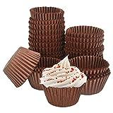 UTRUGAN 500 PCS Papel de Magdalenas a Prueba de Grasa Papel de Muffins Antiadherente Cápsular para Cupcakes Moldes de Papel para Hornear Bizcochos Boda Fiesta Cumpleaños (Marrón, 4.3x3cm)