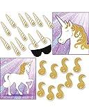 Unicornio juegos de fiesta – 2 en 1 – Pin el cuerno y pin la cola – Blindfold...