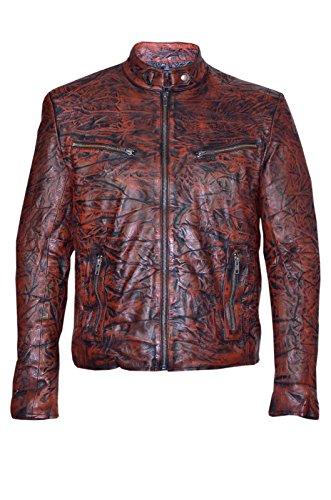 VITESSE SR02 hommes's Antique Tan lavés Style motard moto véritable veste en cuir (UK 3XL / EU 58)
